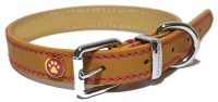 Luxury leather halsband hond leer luxe zand