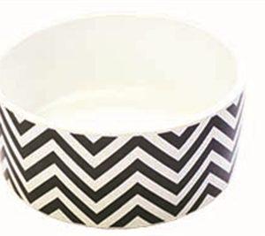 Happy pet pet platter voerbak hond chevron bot grijs / wit / zwart