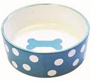 Happy pet voerbak hond polka dot bot blauw / wit
