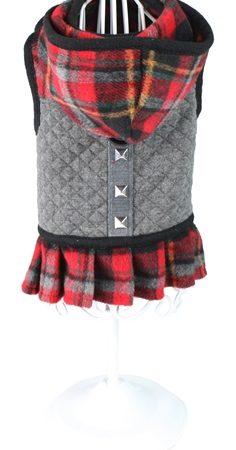Croci hondentuig / jurk karen ruit grijs / rood