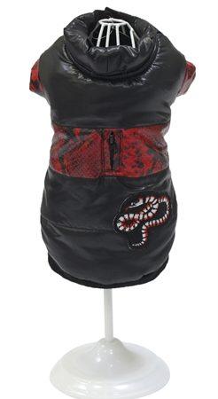 Croci hondenjas jared slangenprint zwart / rood