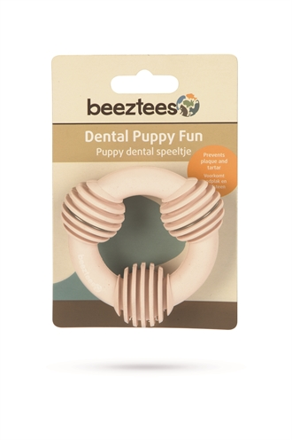 Beeztees puppy dental ring rubber roze